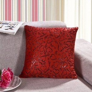 NEW Plush Red Heart Pillow Cover